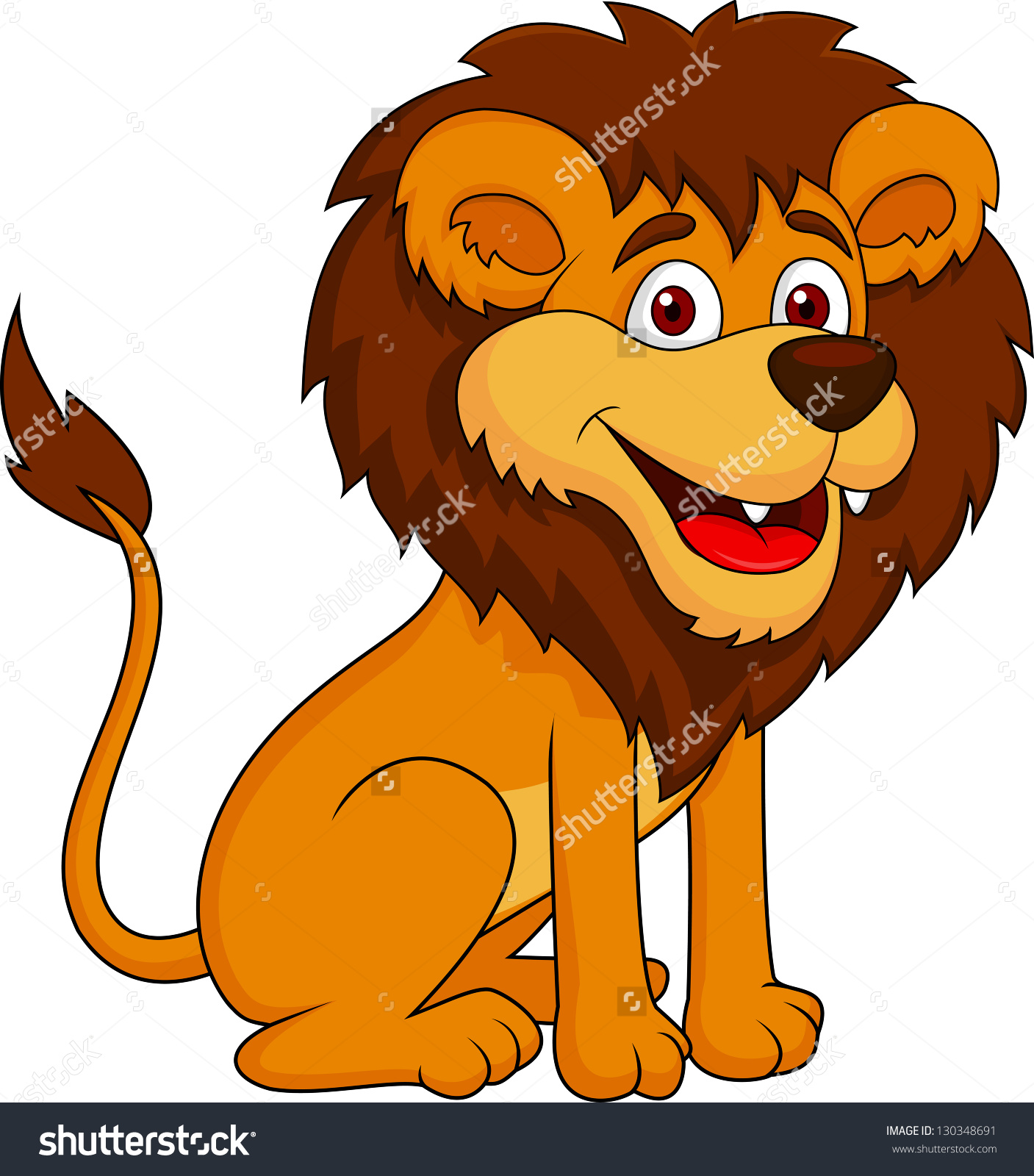 Smiling Lion Cartoon Sitting Stock Illustration 130348691.