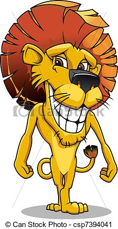 Vector Clip Art of Cartoon smiling lion.