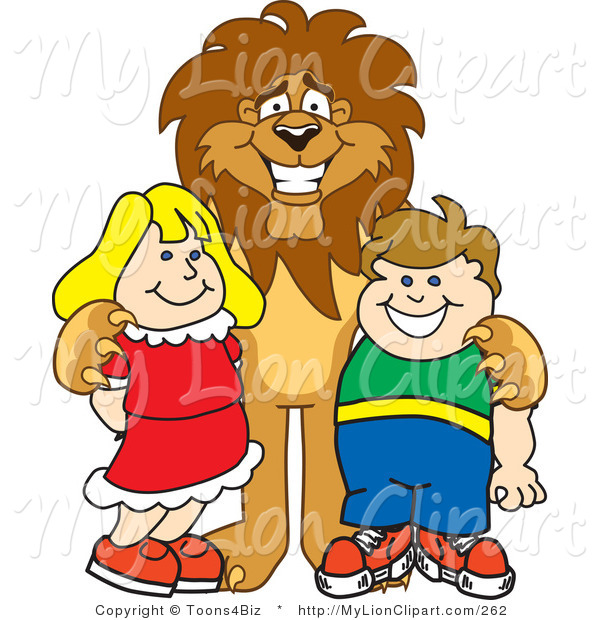 Clipart of a Smiling Lion Character Mascot with Students by.