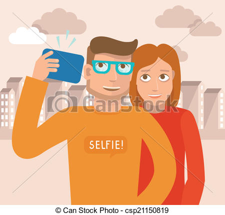Vector Clip Art of Vector smiling man and woman.