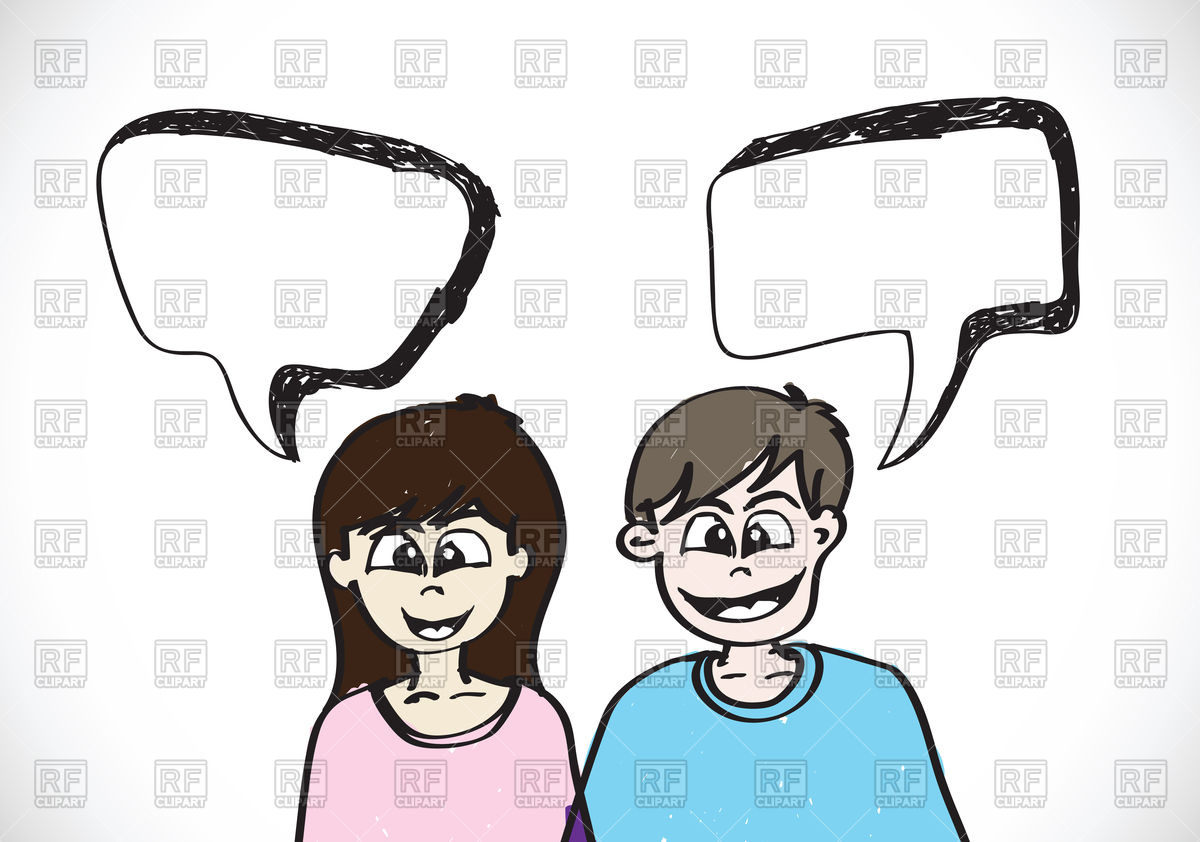 Smiling man and woman with speech bubbles Vector Image #99227.