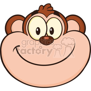 royalty free rf clipart illustration smiling monkey face cartoon character  vector illustration isolated on white . Royalty.