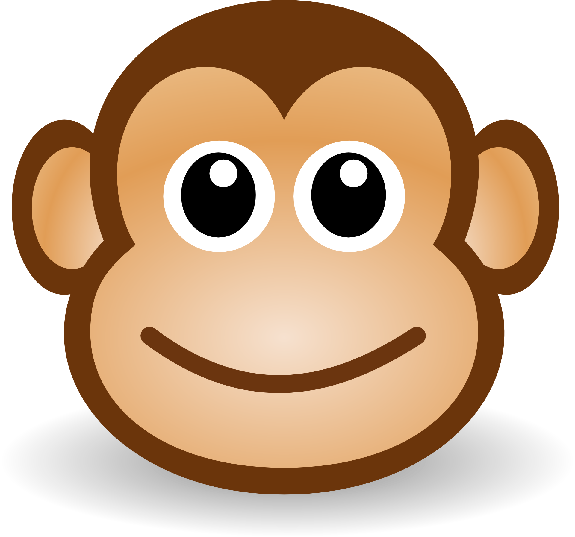 Smiling face of the monkey clipart free image.