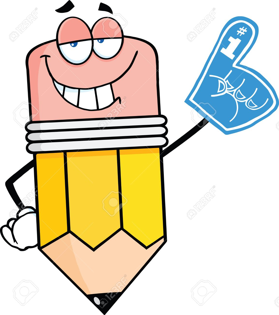 Smiling Pencil Cartoon Character With Foam Finger Royalty Free.