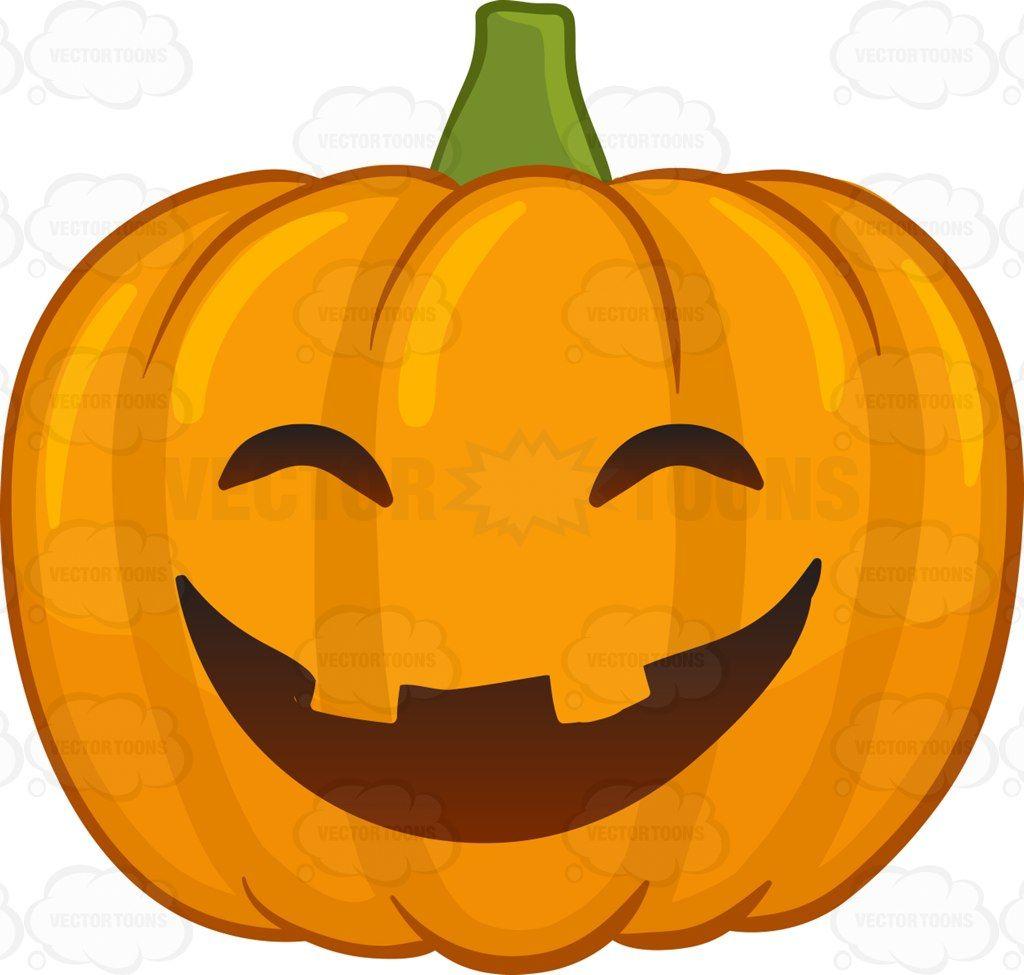 A laughing and joyful Halloween pumpkin #cartoon #clipart.