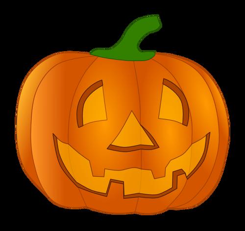 Orange smiling pumpkin vector clip art.