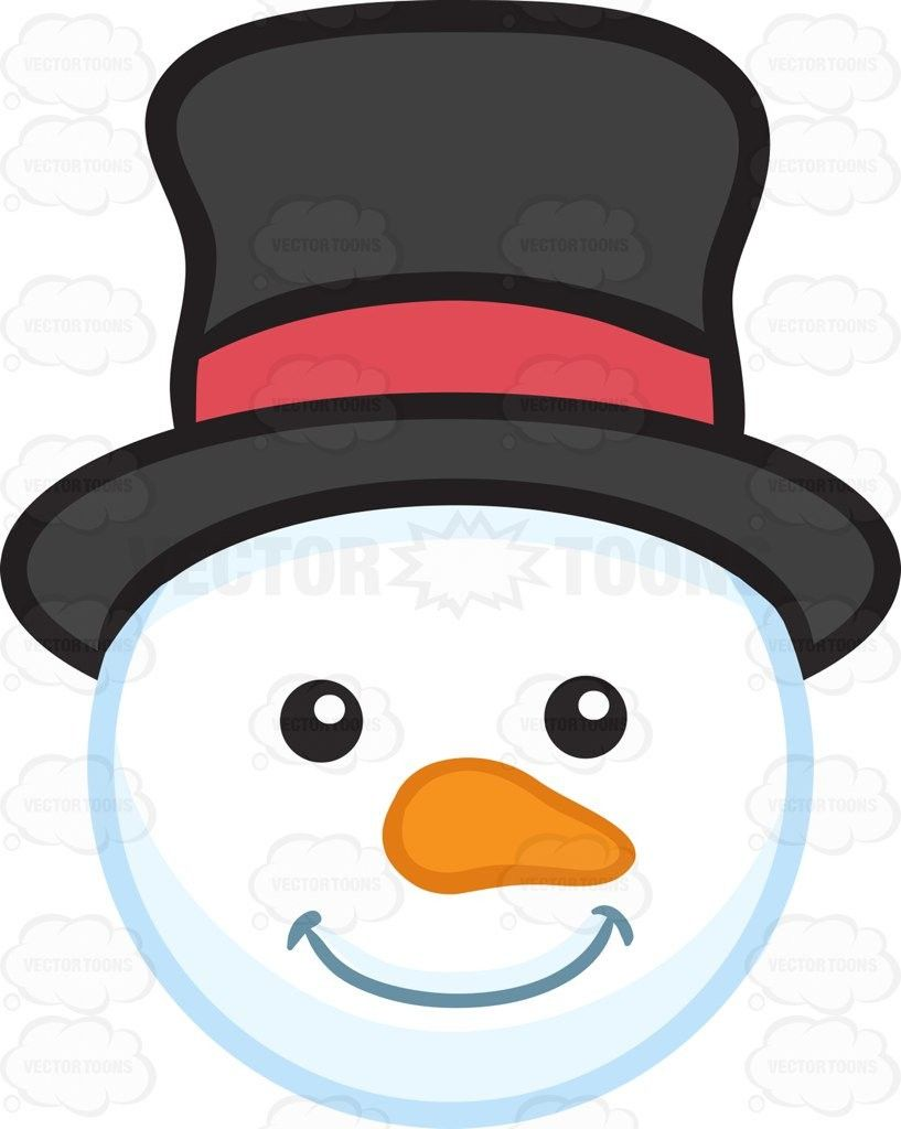 A Smiling Snowman Head Clipart By Vector Toons Throughout.