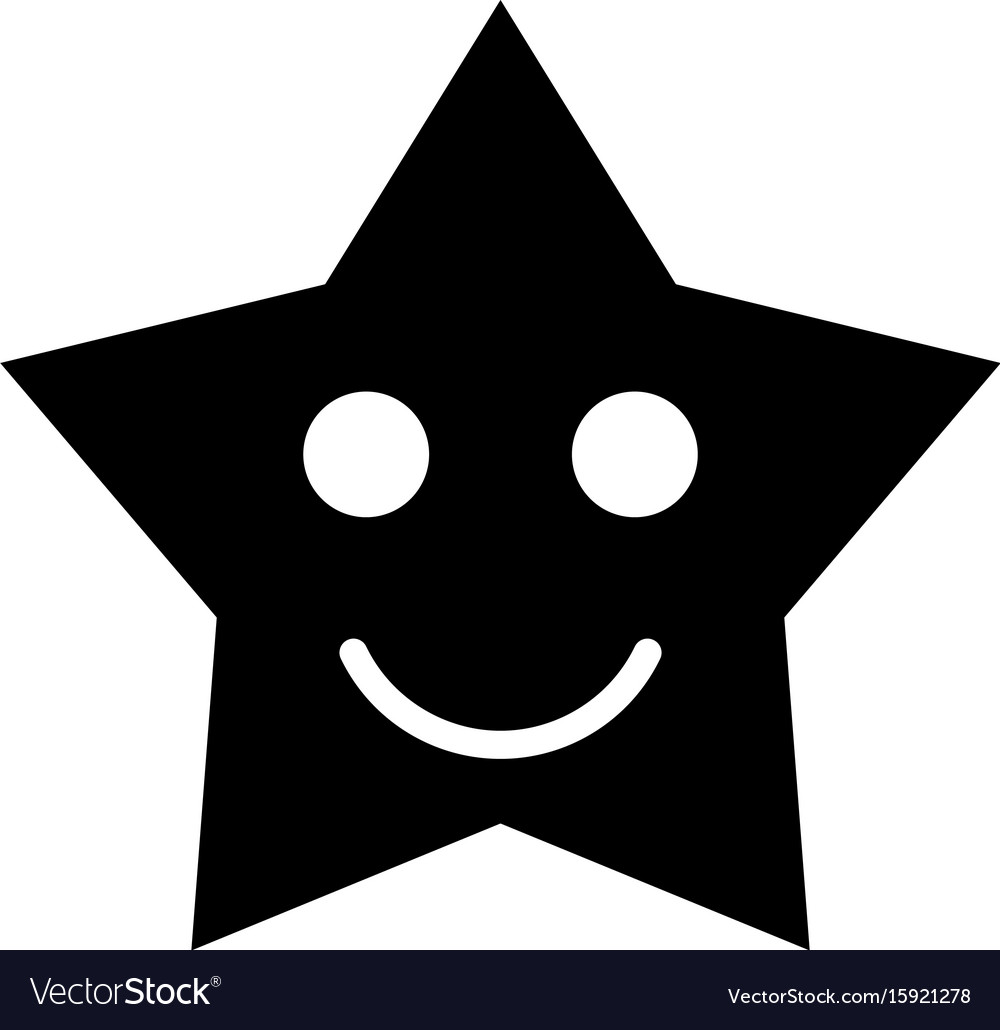 Smiling star black color icon.