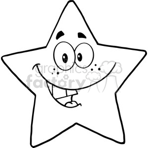 6715 Royalty Free Clip Art Black and White Smiling Star Cartoon Mascot  Character clipart. Royalty.