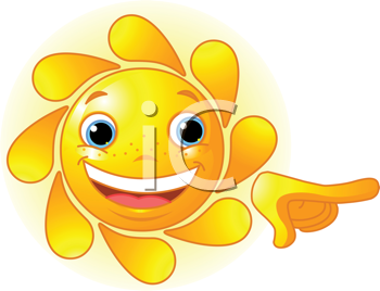 Royalty Free Clipart Image of a Smiling Sun Pointing.