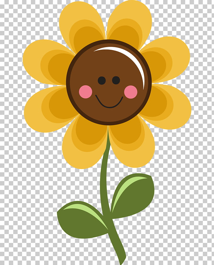 Flower , smiling Sunflower PNG clipart.