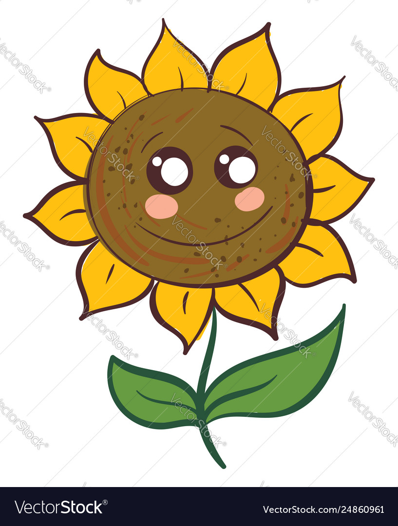Cute smiling sunflower with green leaves on white.