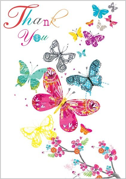 smiling thank you butterfly clipart - Clipground