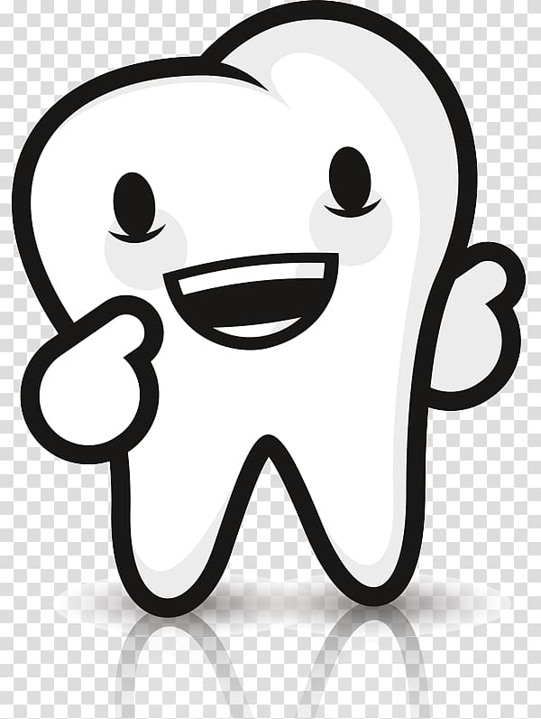 Smiling tooth character illustration, Dentistry Tooth decay.