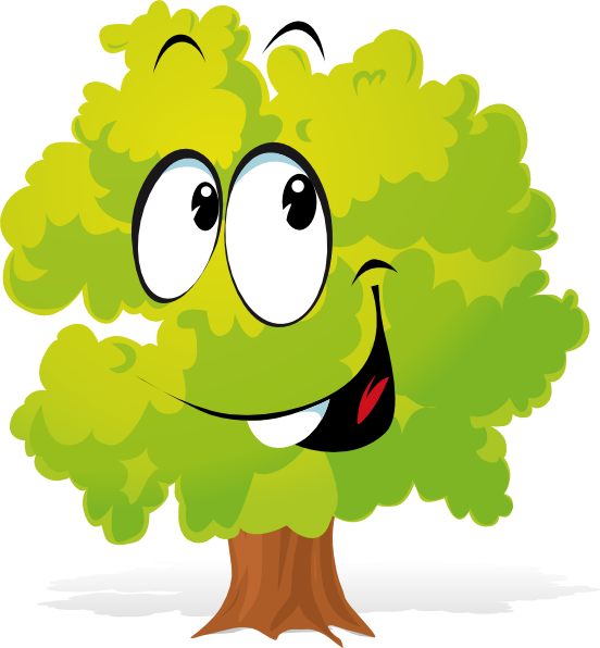 Happy Cartoon Tree SVG Clip arts download.