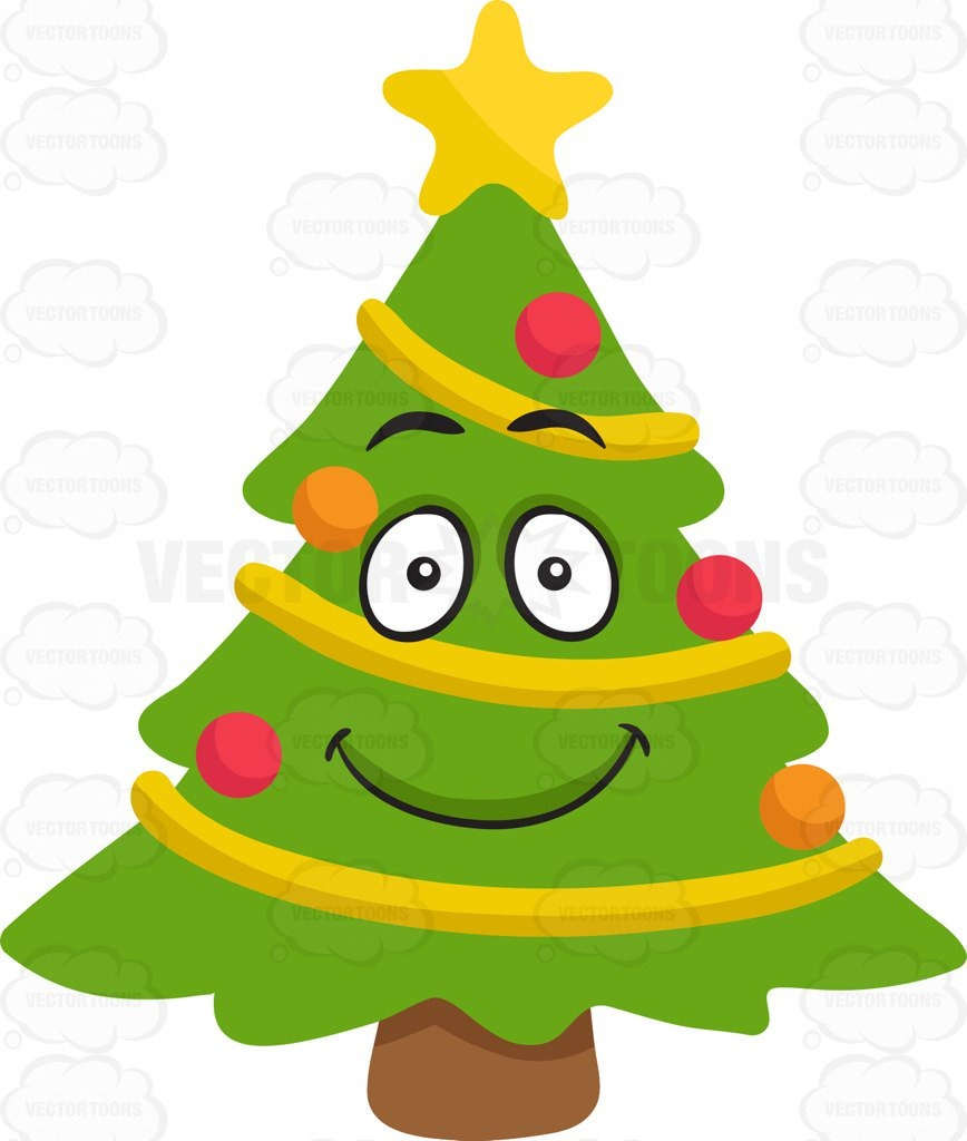 A Smiling Christmas Tree Cartoon Clipart.