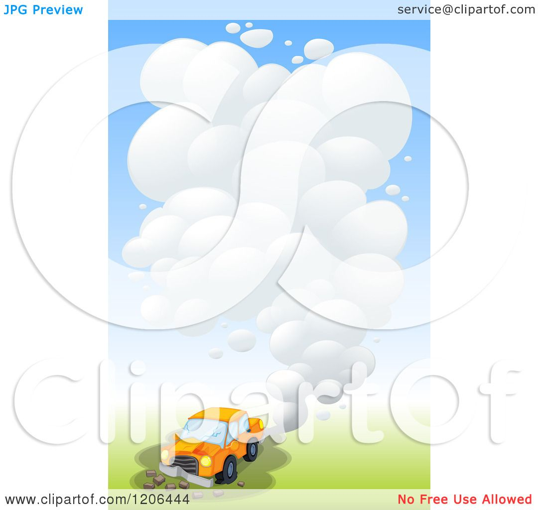 Cartoon of a Car with Exhaust Smog.
