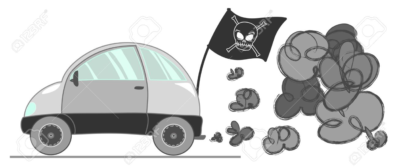 Pirate Car With A Lot Of Grey Smog. Vector Illustration. Royalty.