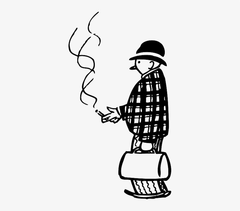 Man, Person, Smoking, Smoke, Suitcase, Funny, Cigarette.