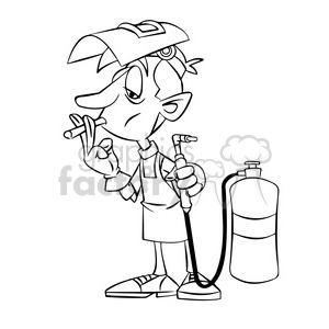 cartoon welder smoking a cigarette black and white clipart. Royalty.