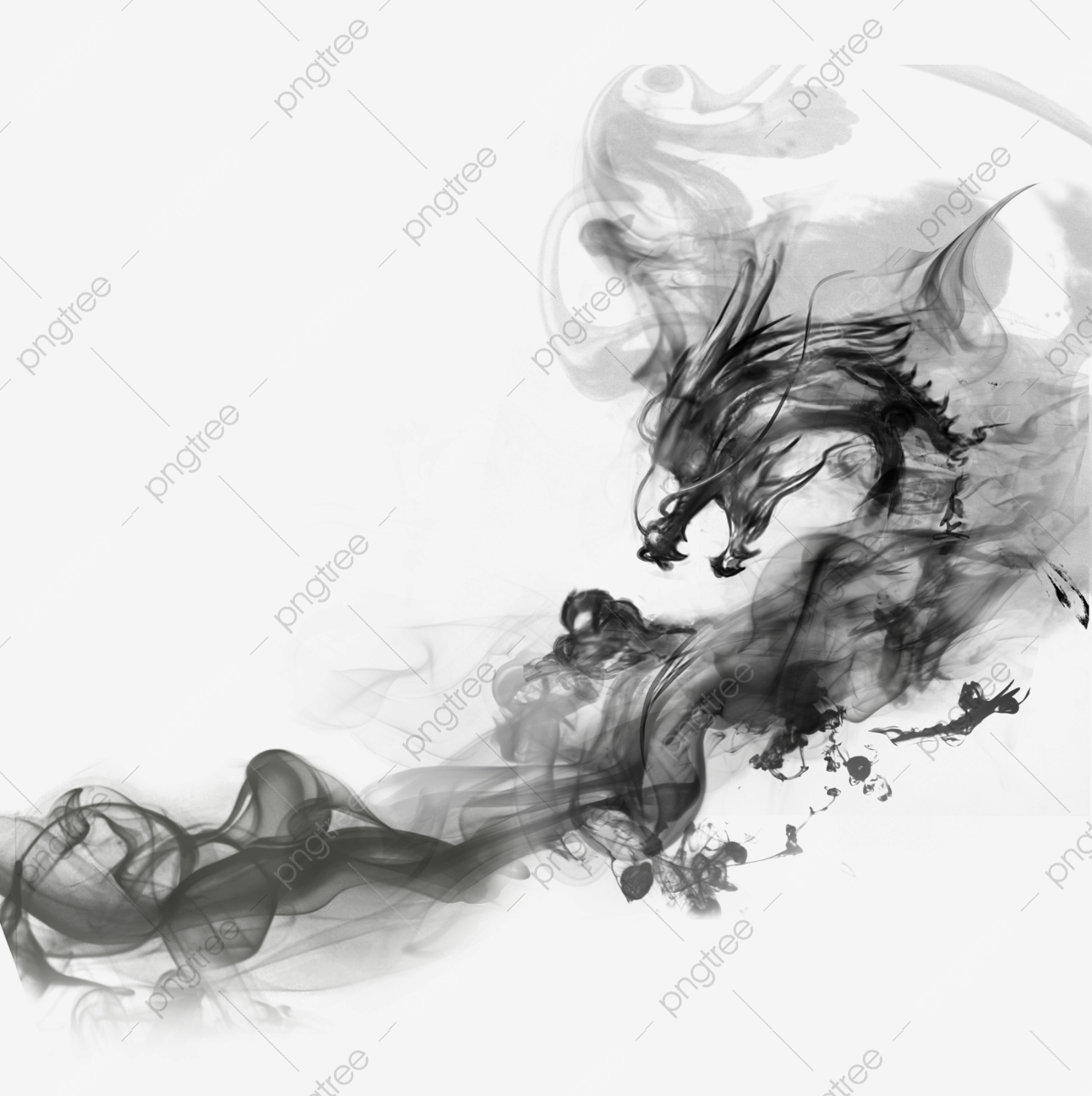 Smoke Black Dragon, Dragon Clipart, Smoke, Black PNG.