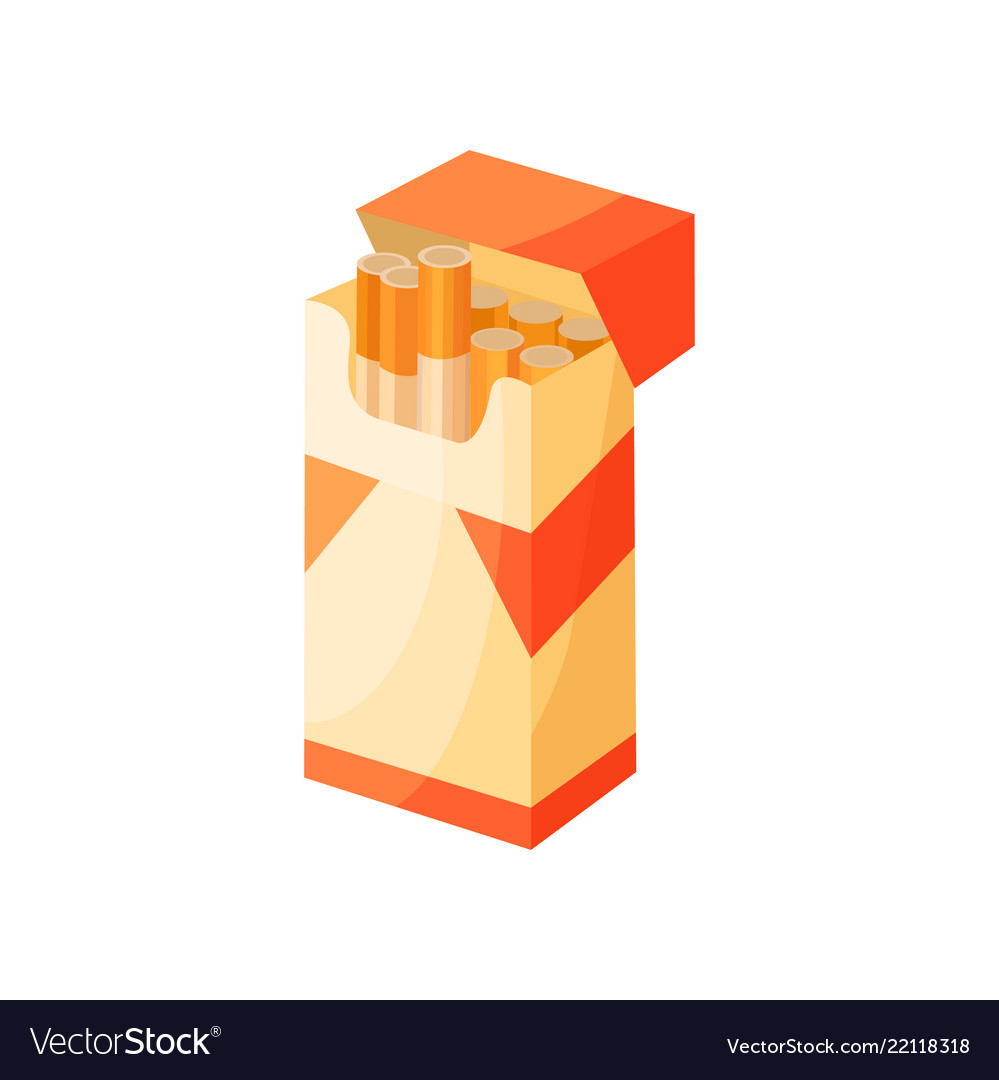 Opened pack of cigarettes icon related to smoking.