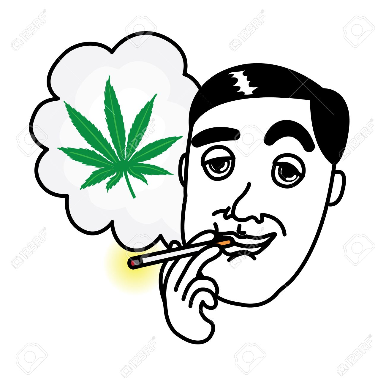Man Smoking Cannabis Cigarette Royalty Free Cliparts, Vectors, And.