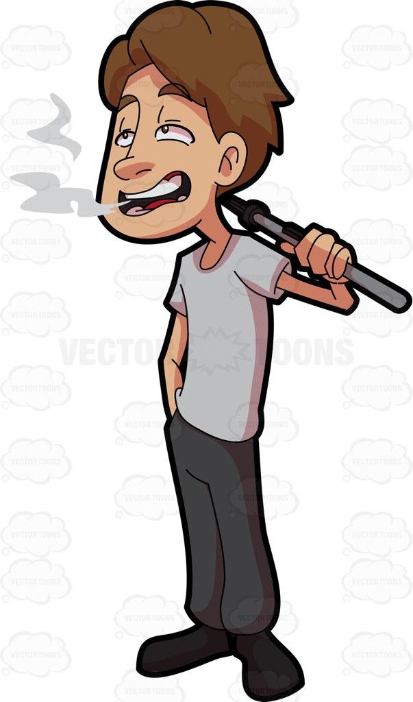 A Man Smoking Weed Using Vape Cartoon Clipart.