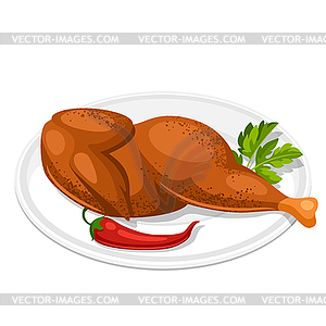 Smoked chicken with parsley leaf and chili plate.