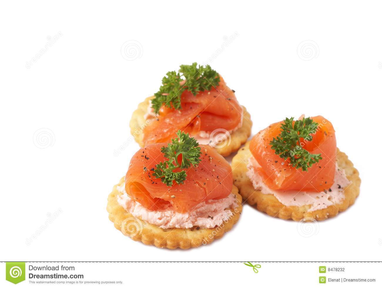 Smoked Salmon And Cream Cheese On Crackers Stock Photography.