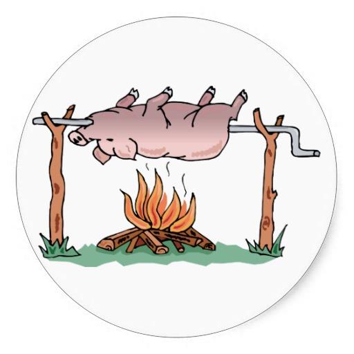 Pig On Spit ~ BBQ Barbecue Smoke Pork Smoker Round Sticker.