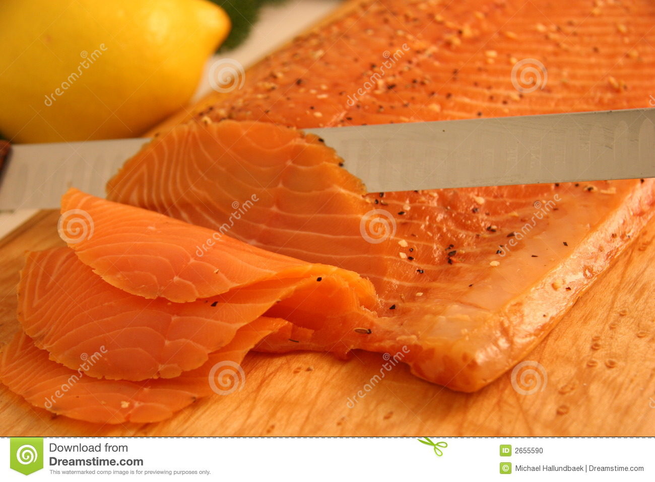 Smoked Salmon Appetizer Stock Photo.