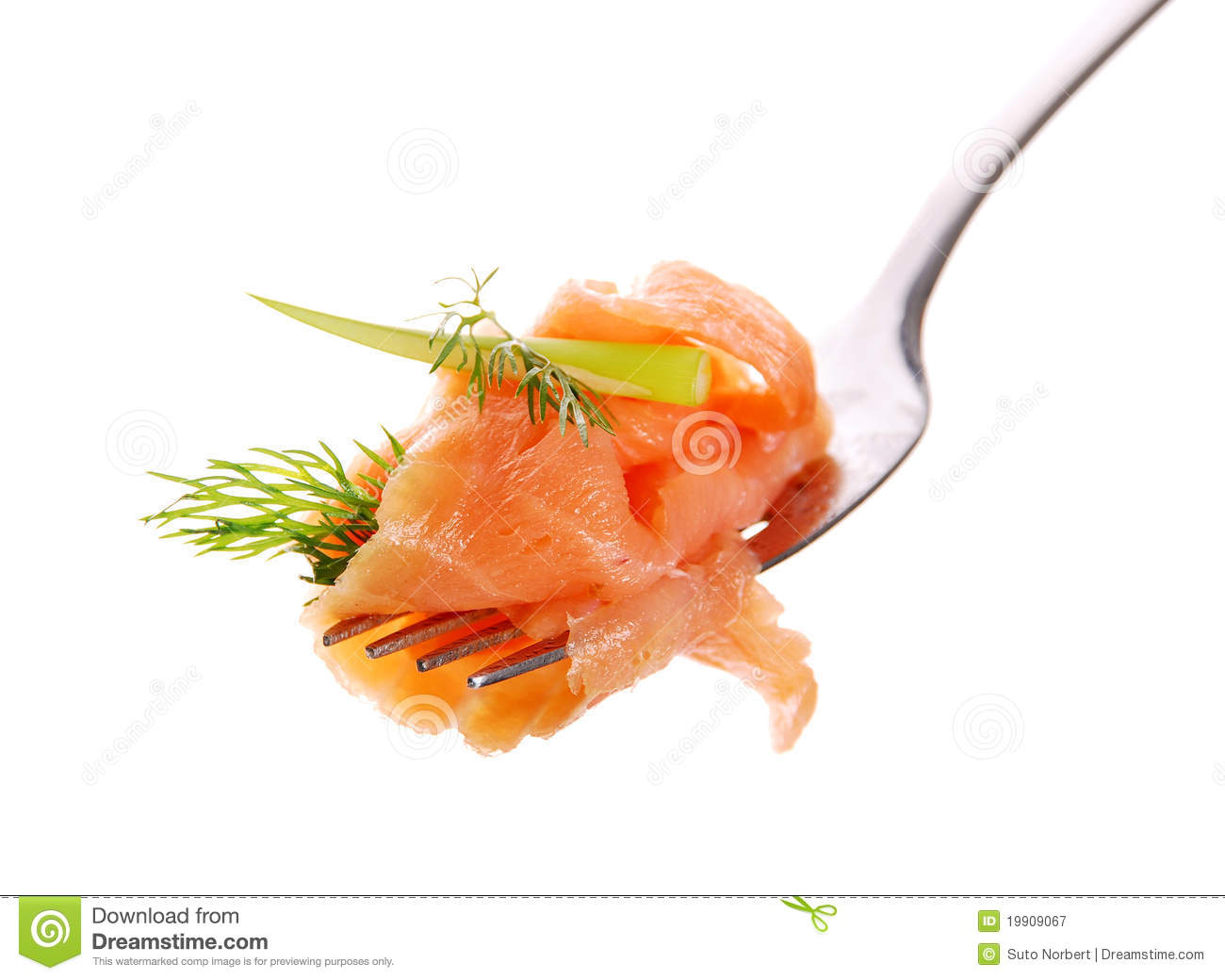 Smoked Salmon On A Fork Stock Photography.