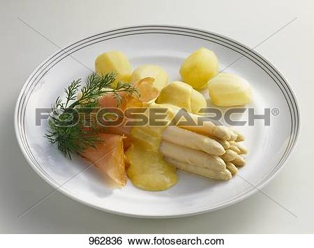 Stock Images of Asparagus with curry sauce, smoked salmon and.