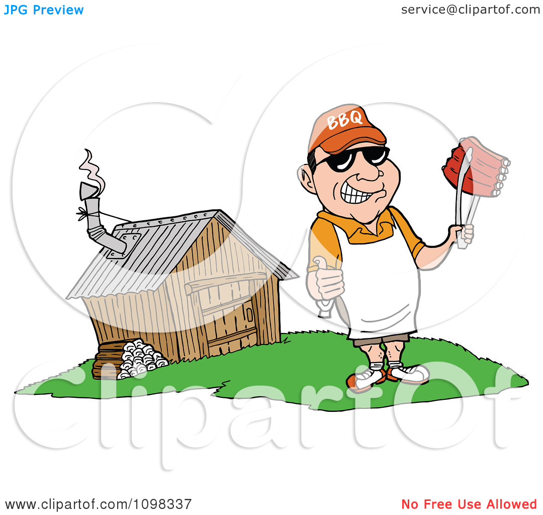 Clipart Happy White Chef Holding A Thumb Up And Ribs With Tongs By.