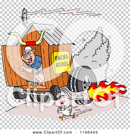 Clipart of a Chicken Running from a Pig on a Hot Rod Smoke House.
