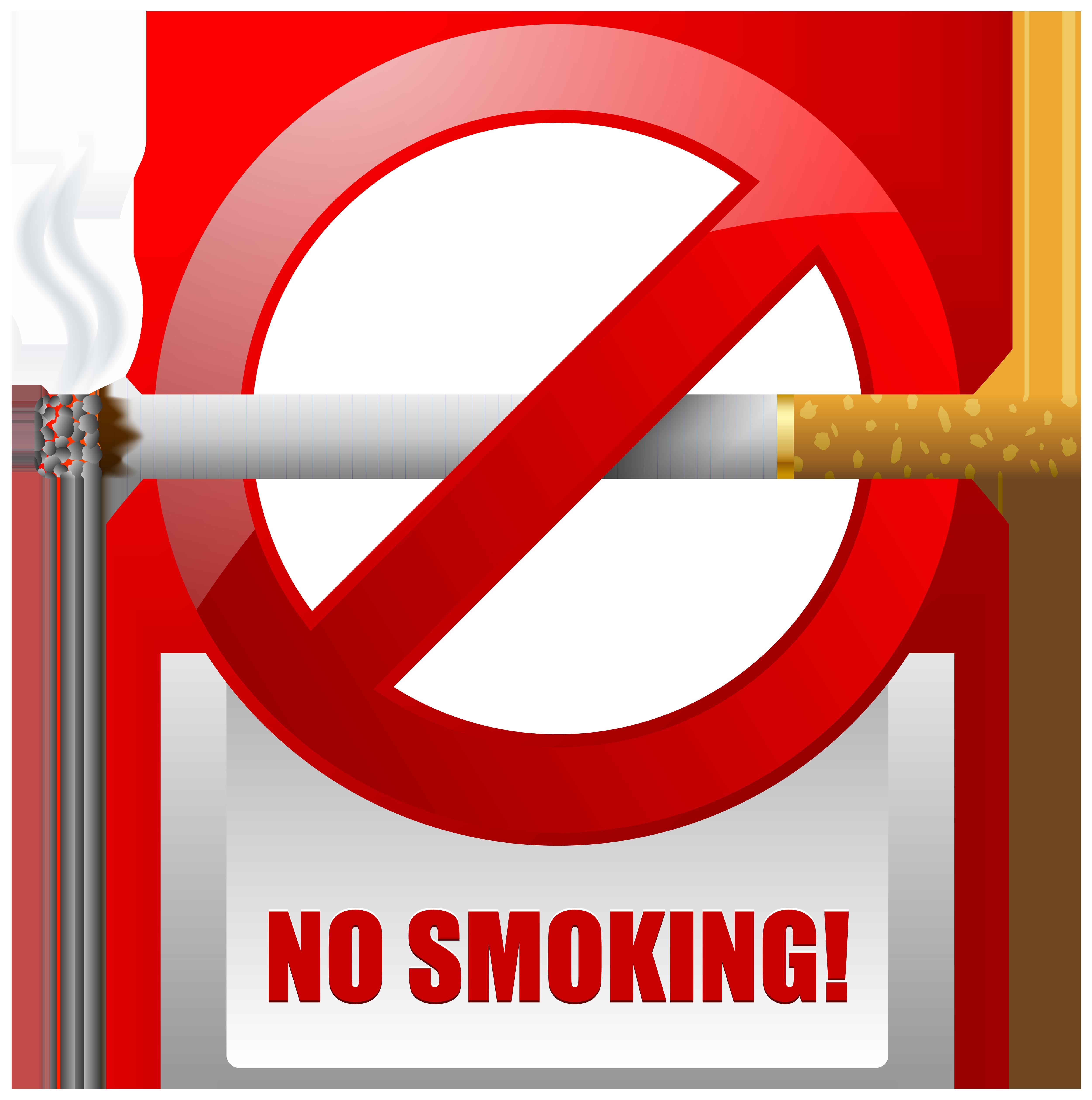 Red No Smoking Warning Sign PNG Clipart.