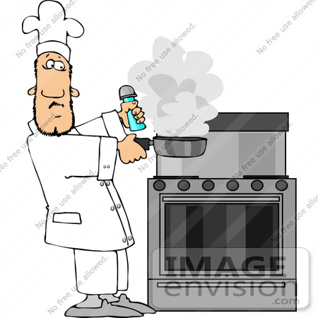 Chef Holding a Smoking Frying Pan Clipart.
