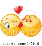 Cartoon of a Valentine Girl Kissing a Boy on the Cheek.