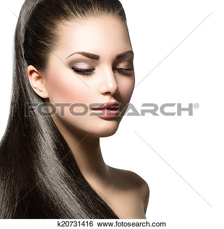 Stock Images of Beautiful woman with brown long healthy smooth.