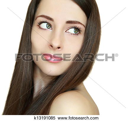 Stock Image of Beauty woman with health smooth hair looking back.