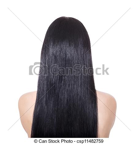 Stock Images of Woman with long straight brown hair.