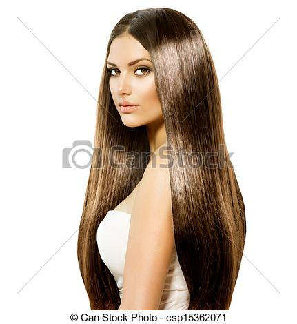 Picture of Beauty Woman with Long Healthy and Shiny Smooth Brown.