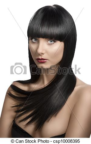 Stock Photographs of pretty girl with long, dark smooth hair and.