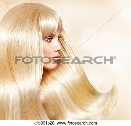 Pictures of Blond Hair. Fashion Girl With Healthy Long Smooth Hair.