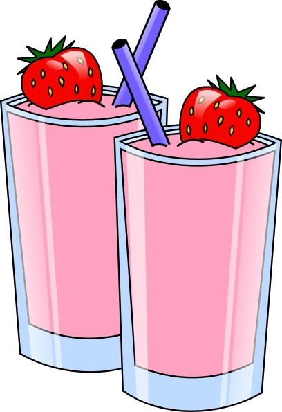 Strawberry Smoothie Drink Beverage Cups clip art Free vector.