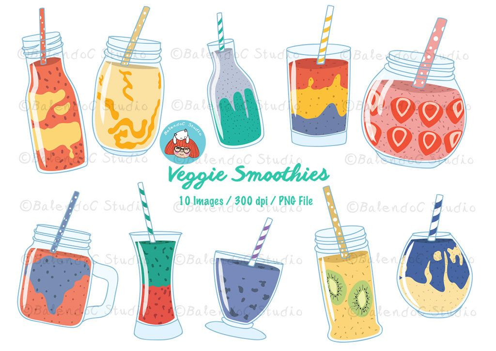 Drink Clipart, Smoothie Clipart, Beverage Clipart, Color.