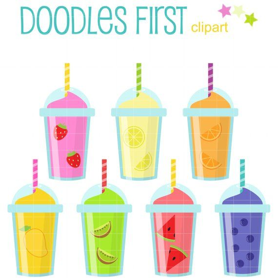 Fruit Smoothies Digital Clip Art for Scrapbooking Card.