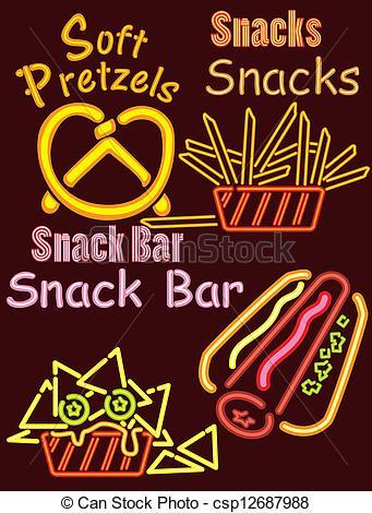 Vector of Neon Lights Snack bar 1.