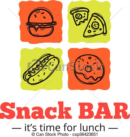 Clipart Vector of Vector trendy snack bar logo in doodle style.